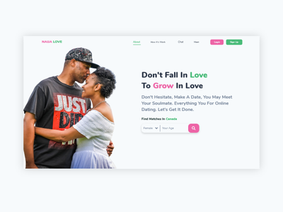 UI Dating Website Hero Section dating app dating dating website design indonesian indonesia ui minimal indonesia designer adobe xd