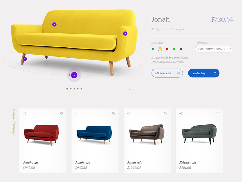 Product Page Design furniture product page design portfolio sofa smart room media interactive listing store ecommerce