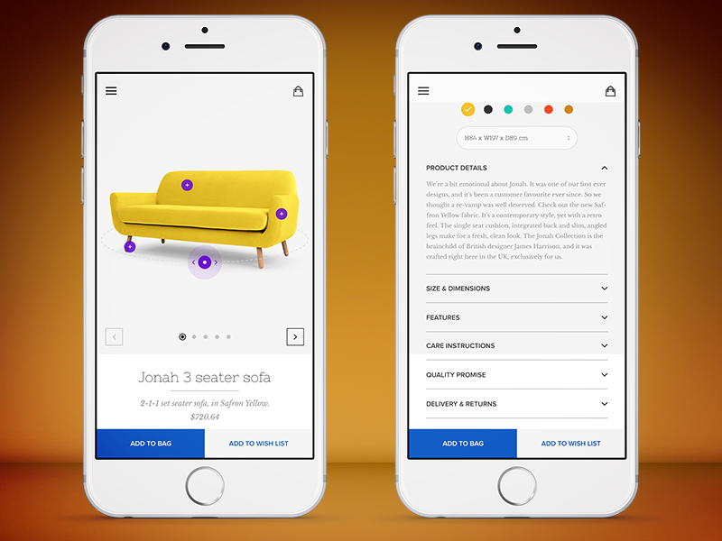 furniture app product page by naresh bingi dribbble
