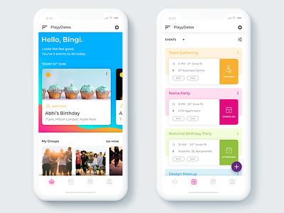 Playydates App Design events app alignments ios portfolio user interface design ux ui