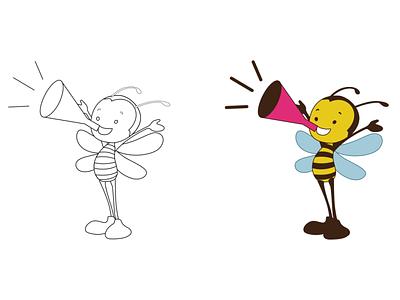 Bee Cartoon Character bee adorable portfolio vector bee character cute bee bee pose cartoon bee character mascot illustration cartoon comic