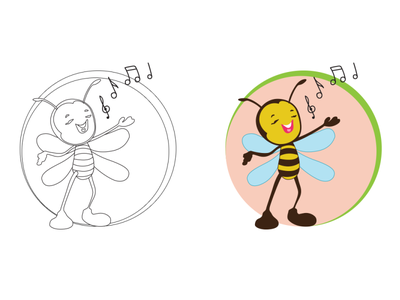 Bee Cartoon Character adorable lovely kiddish game characters funny cute bee children book illustration character design comic cartoon character cartoon bee mascot adorable bee bee branding illustration vector