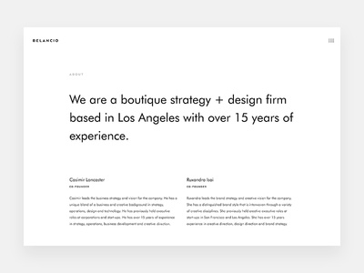 Belancio Teaser simple typography startups strategy minimal icons design clean about