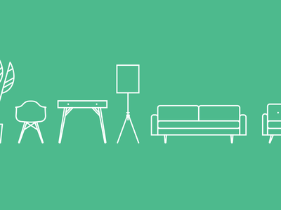 M&C Furniture clean minimal illustration iconography icons furniture mid-century modern