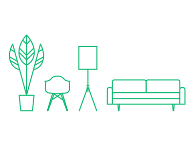 M&C Furniture clean minimal illustration iconography icons furniture mid-century modern