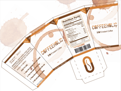 COFFEEHOLIC 3 in 1 Instant Coffee Packaging Design