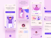 Relax Mobile App calm purple color clean cards illustration meditate meditation mindful relax mdeitate ux card ui stress relaxing relaxation lifestyle app