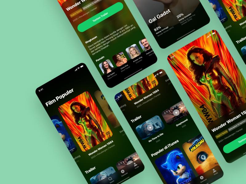Movie App - UI Design movie poster dark ui dark concept clean ratings colorful movie discover app interface icons typography ui color cards movie app