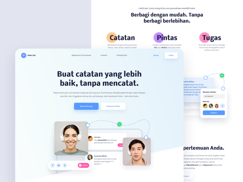 VC - Website Exploration video call web design card user inteface whitespace typography homepage clean website landingpage captures meeting video chat call