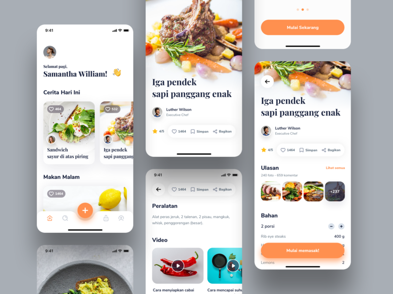 Cooking App video mobile app product design ux food app menu meal orange dinner concept food cooking ui category icons discover typography clean cards app