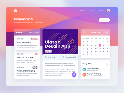 Stripe Inspired Dashboard Design group chat teamwork to-do list cards typography management task manager task gradients clean timeline team calendar schedule dashboard