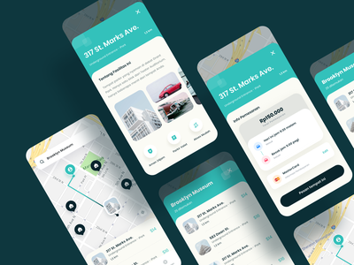 Parking App UI clean ui map navigation parking parking app parking lot app app design booking clean cards ui cards car icons