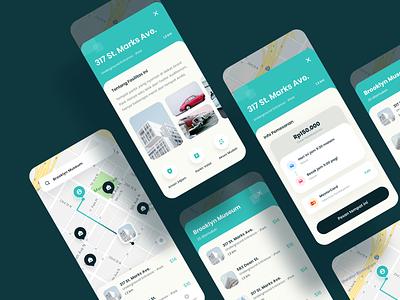 Parking App UI clean ui map navigation parking parking app parking lot app app design booking clean cards ui cards car icons