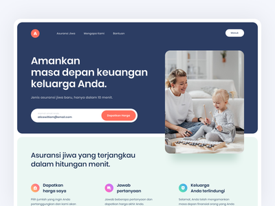 Hero Section for Insurance Landing Page clean card typography bold typography user interface web design agent icon landingpage hero section hero interface service web website insurance protection