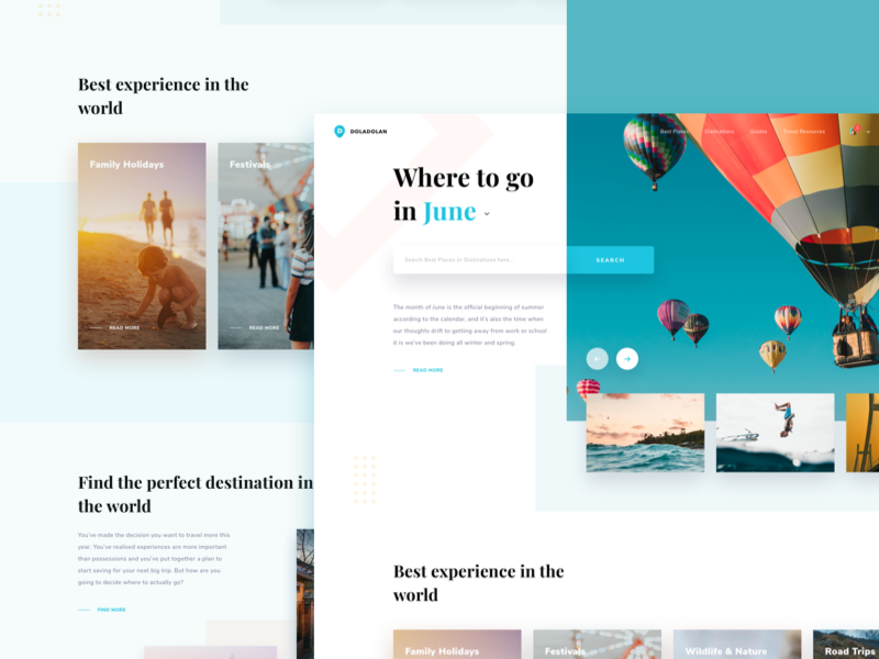 Travel Blog Exploration search serif photography tourism shadow travel landing page clean card