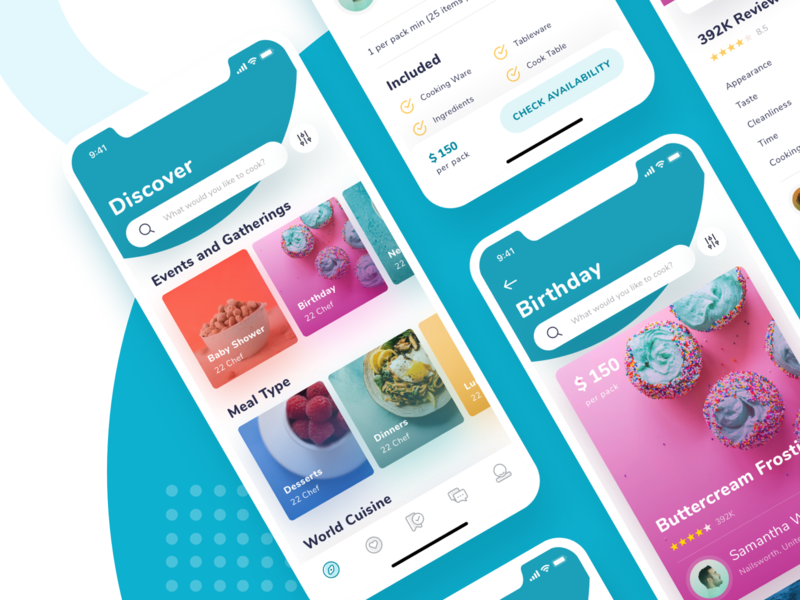 Koki App Exploration chef events ui category app foods discover icons ios11 trend details cards