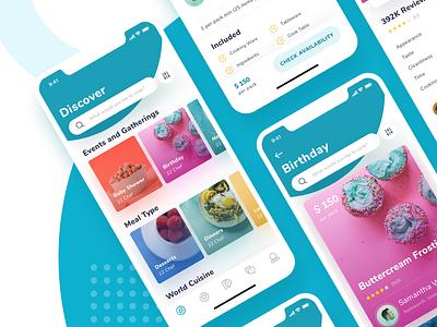 Koki App Exploration chef events ui category app foods discover icons ios11 trend details cards
