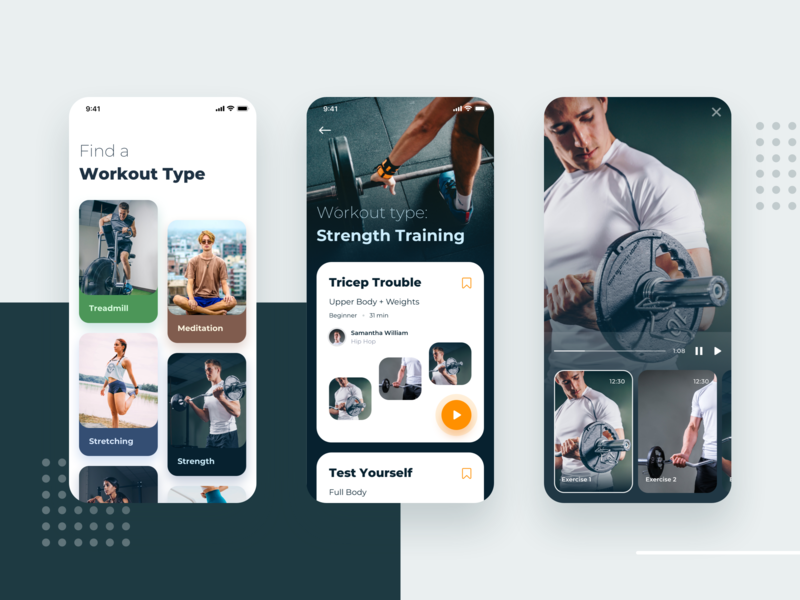 Personal Training App - Exploration discover ux fitness app video app design clean ui category cards app