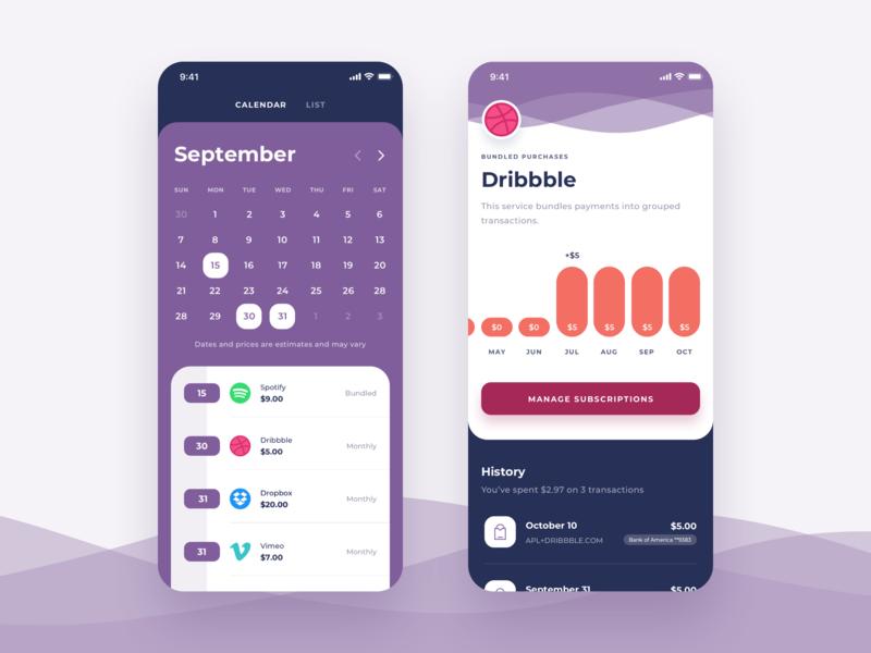 Expense Manager App - Exploration transactions graphic exploration statistics waves management history calendar chart clean ui cards app