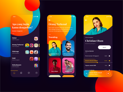 Podcast App - Exploration uidesign exploration design app app list card ios 11 typogaphy streaming app podcast color