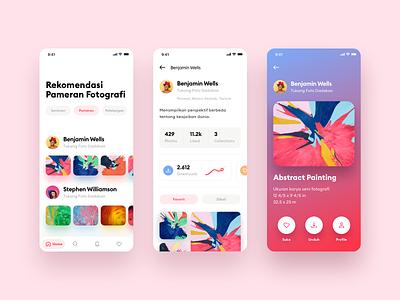 Art Fairs App abstact chart ui design icons tabbar toolbar colors mobile ios gradient clean ui cards app