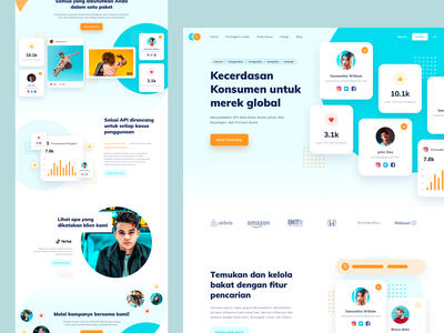 Influencer Landing Page discover pattern chart graph stats analytics profile interface orange blue influencer bold simple website web typography landingpage clean