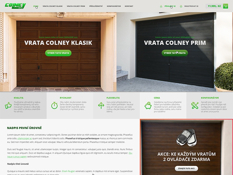 Colney Garage Doors E-commerce colney garage doors ecommerce e-commerce eshop czech big layout grid metro green gradient