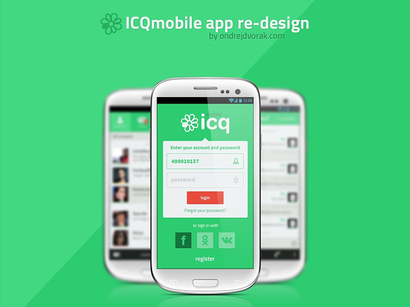 ICQ app old redesign (2013) icq app mobile android samsung 2013 old green flat clean minimalistic czech