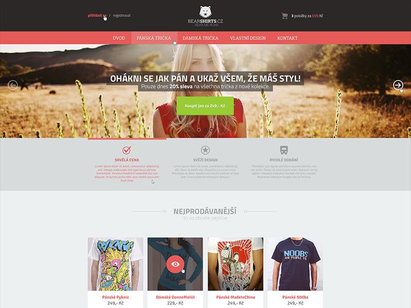 BearShirts E-commerce bearshirts ecommerce eshop shirts red brown czech flat clean minimalistic