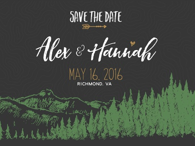 Save The Date hiking mountains adventure illustrator design marriage save the date wedding
