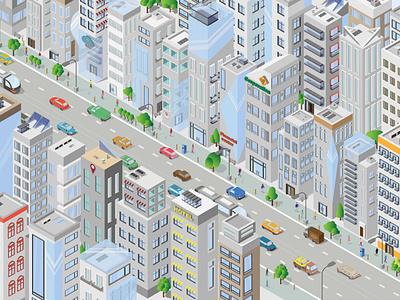 isometric city isometric city design website web icon typography branding illustration