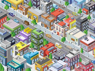 isometric city vector illustrator logo website web typography isometric city illustration design branding