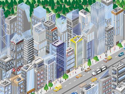 Megalopolis megalopolis design vector illustrator website web isometric city illustration branding