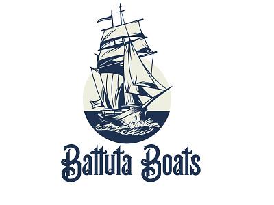 Battuta Boats Logo logos logotype logo design corporate design branding illustration design flat logo vintage design vintage logo vintage
