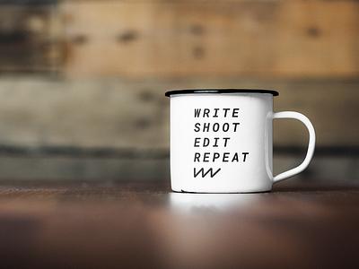 We Make Videos mug mockup logo branding design