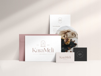 KaraMeli confectionery - Branding feminine logo feminine cakery sweets cake logo cake cake shop bakery confectionery illustration logo business card design businesscard brand identity branding brand design