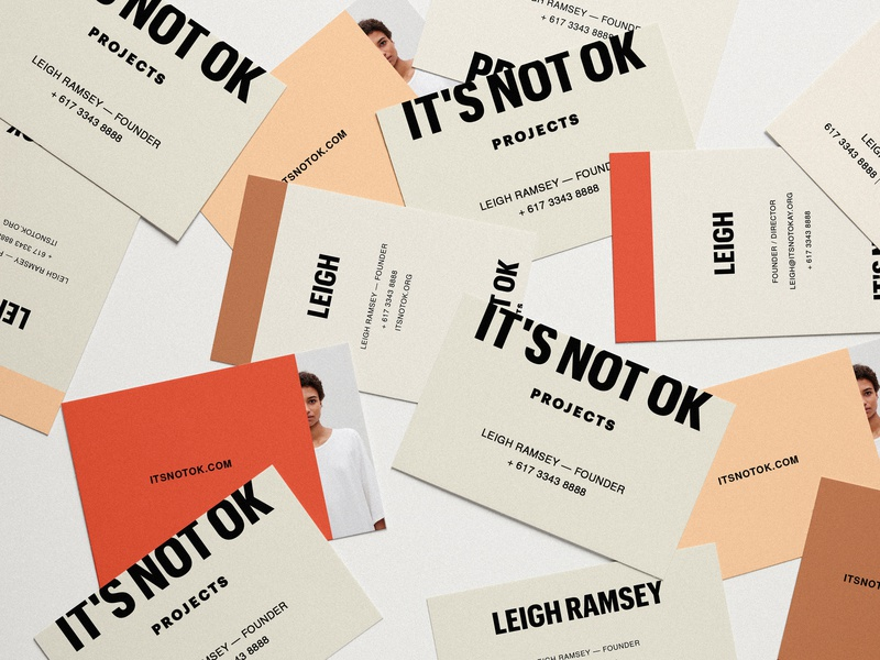 Brand Collateral for IT'S NOT OK Projects, by Soul Twin brand collateral human trafficking business card mockup business card type logo print design identity branding