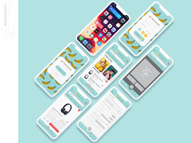 Go Bananas - App userinterface get started save blue teal minimalism iphone iphone 12 banana deal animation app designs mockup branding typography idea ui ux design