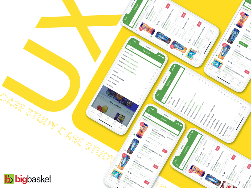 BigBasket - UX Case Study user experience user interaction uiux ux design design app ios apple bigbasket grocery app daily casestudy excercise idea think green yellow user interface userinterface design mockup