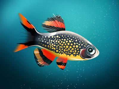 Sad Galaxy :,-( character mascot fish blue
