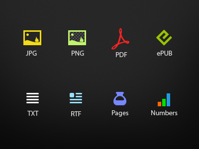 files jpg pdf png epub txt rtf pages numbers files file icons simple