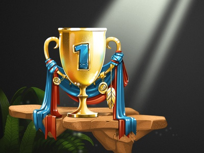 Winner's Cup number kids ui game ribbons stone gold trophy illustration icon winner cup