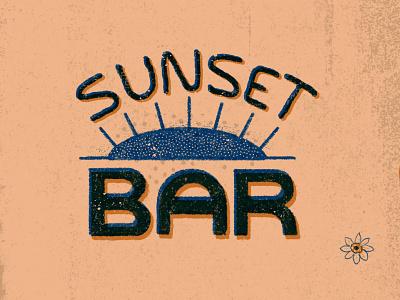 Sunset Bar halftones sunset lettering type design poster texture drawing illustration