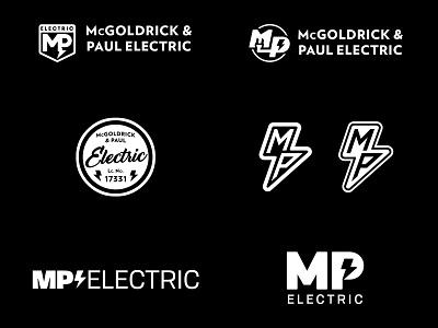 MP Electric Logos electrician typography branding logo design