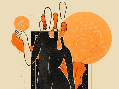 V O I D poster surrealism eyes texture illustration digital space woman illustration