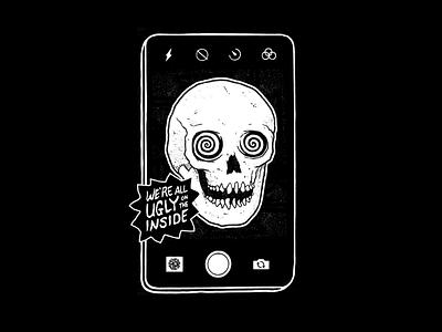 We're Ugly! poster drawing texture photo camera social media phone ugly skull