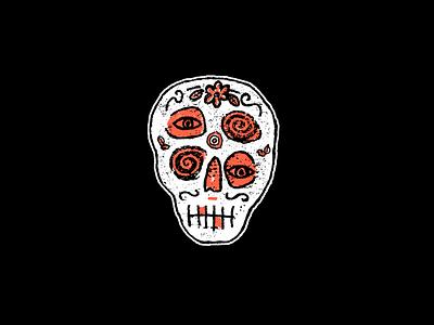 D A Z E D sugar skull muerte logo texture gold teeth four eyes drawing illustration skull