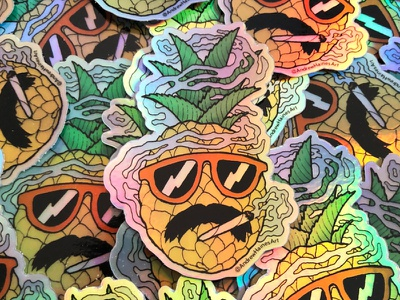 Pineapple Kush Sticker surf summertime summer sunglasses fruit art kush weed smoke joint smoking pineapple illustration drawing store sticker