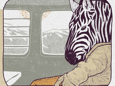 Traveling train mountains poster texture drawing ink illustration animal zebra travel