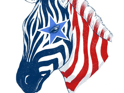 American Zebra ink drawing wip illustration texture stars and stripes stars animals zebra america usa